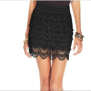 American Rag Black Tiered lace skirt